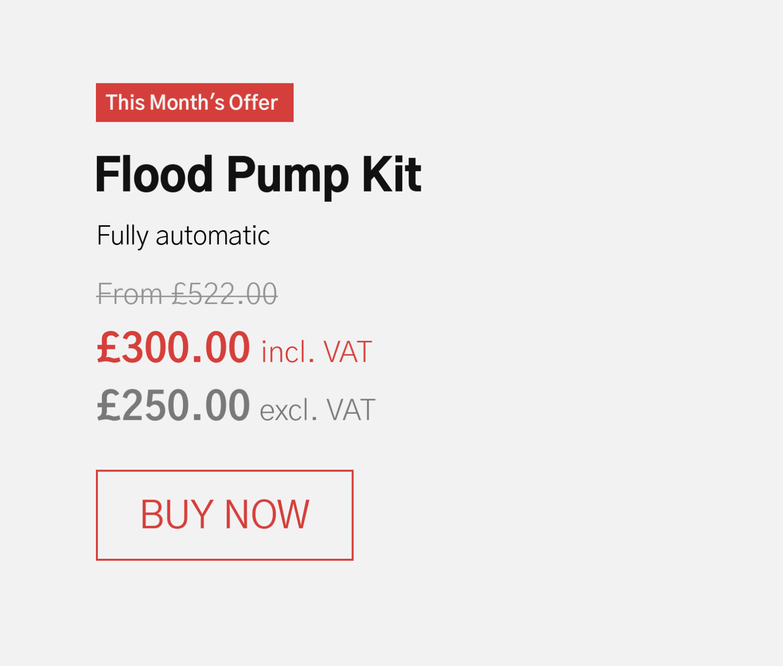 Flood Pump Kit