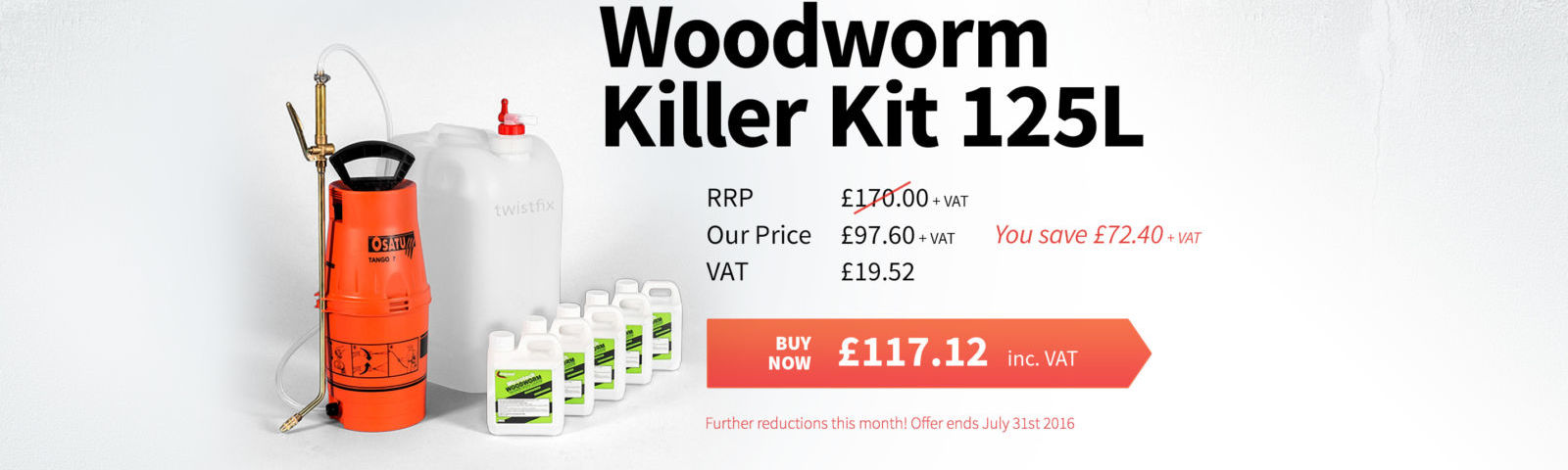 2016 July Woodworm Killer Kit 125L