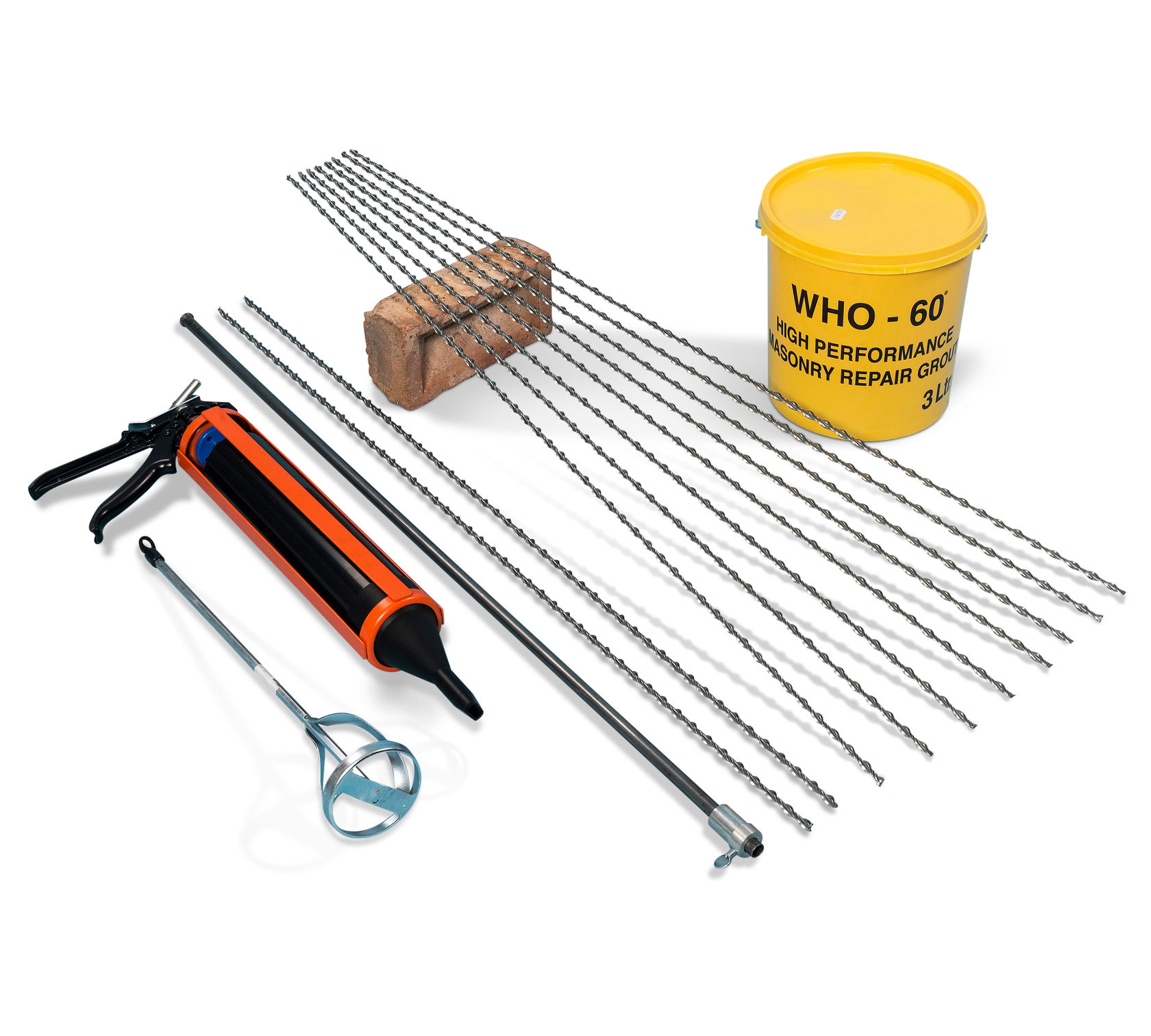 8mm x 1m STAINLESS STEEL HELICAL WALL MASONRY MORTAR CRACK STITCHING BARS 10