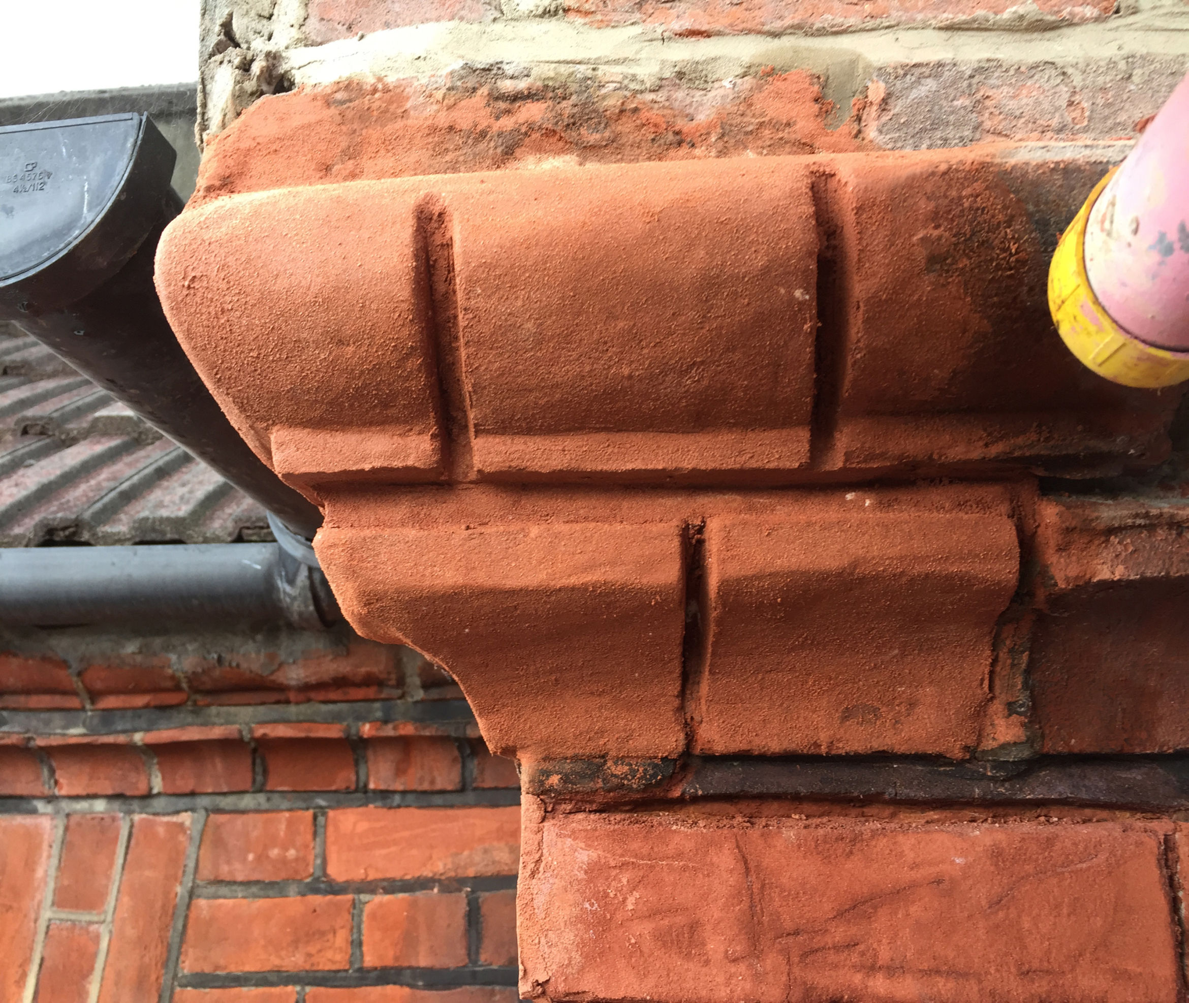 Brick Face repair with coloured mortar